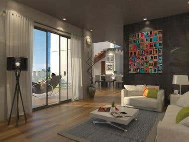 Interior rendering - Residence