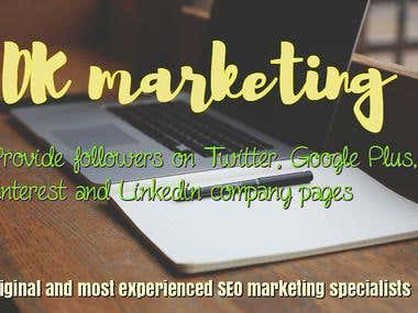 Followers on Twitter, Google Plus, Pinterest & Linkedin