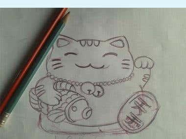 ilustracion de gato de la suerte