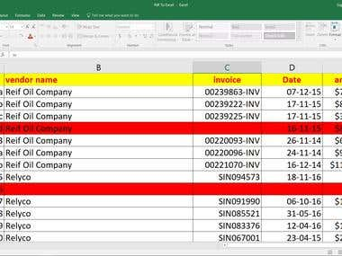 PDF to Excel Conversion/Data Entry