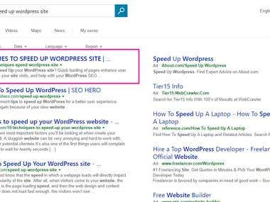 2 Month's Campaign for Bing Ranking #1 Page #1 Position