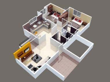 apartment overview in 3ds max
