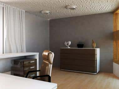 3d modeling of office room and 3d rendering