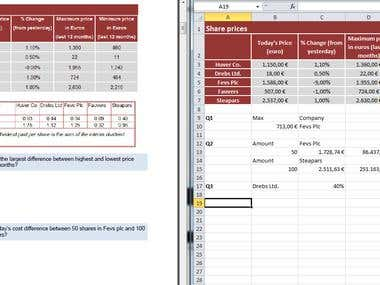 Economics, Management and Statistics Exam with Excel Answers