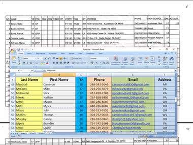 Scanned pages to Excel
