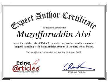 Expert Author Certificate | http://ezinearticles.com