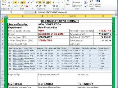 Billing Statement with snap shot from SAP system