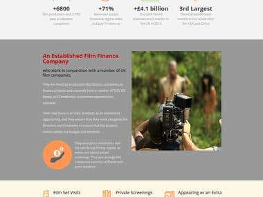 Film Investment Landing Page