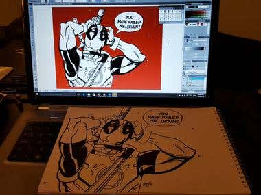 Deadpool - Canvas Illustration
