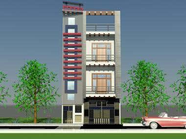 Elevation design of residential building
