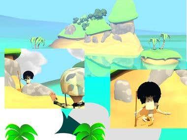 La isla (Diseño de personajes y escenario)