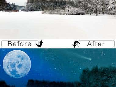 Snow in park - Day to night