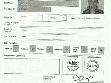 IELTS - English Proficiency Level Certificate