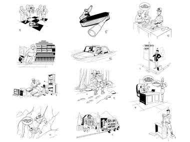 set of small illustrations