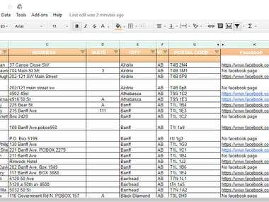 Web Search Data entry with google spreadsheets