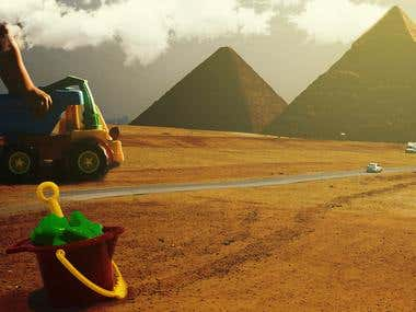 I Built the pyramids photomanipulation.