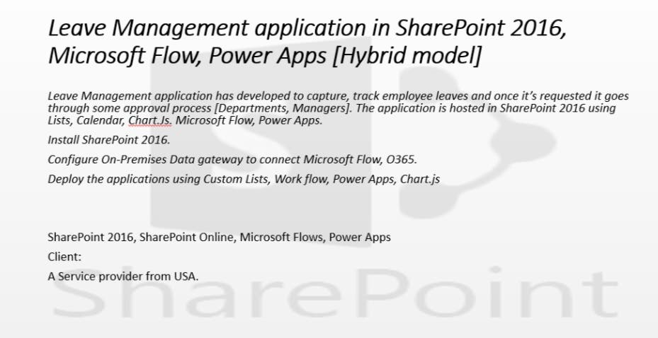 Leave Management application in SharePoint 2016, 2013