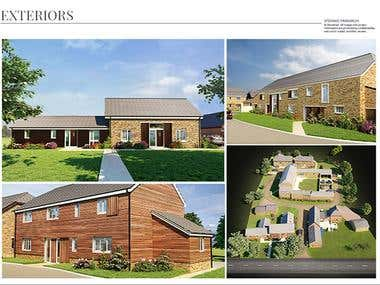 Exteriors views 3D Rendering, Rural Look