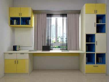 Kids room wardrobe, study unit