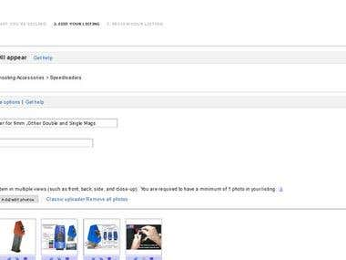 Ebay (e-commerrce) product uploading and store management