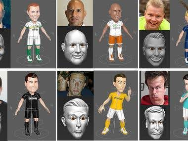 Caricatures of soccer players