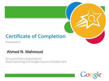 Searching with Google certificate