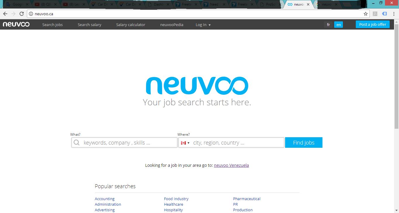 Web Page neuvoo.ca