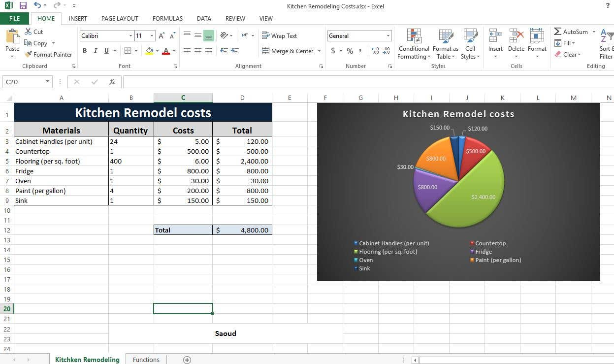 """Kitchen Remodel Costs"" Excel"