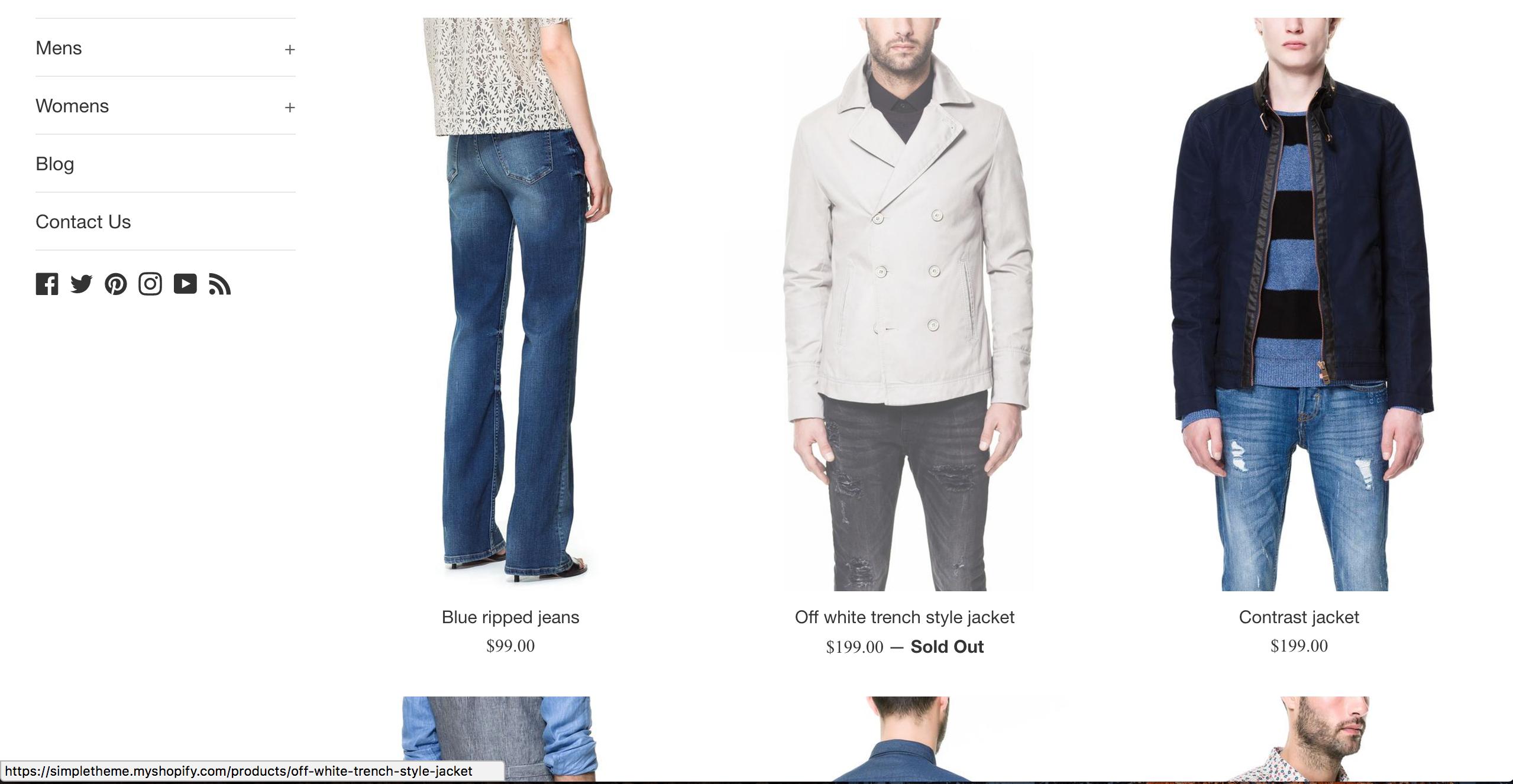 Shop website creation
