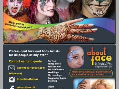 Postcard/Leaflet for 'About Face UK' face painting company