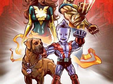Family portrait in the guise of superheroes