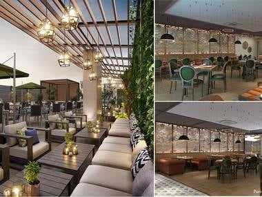 3D Interior restaurant rendering