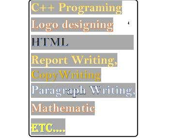 Programing ,html,css,logo designing,writing article, etxc