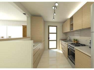 Bathroom and kitchen rendering