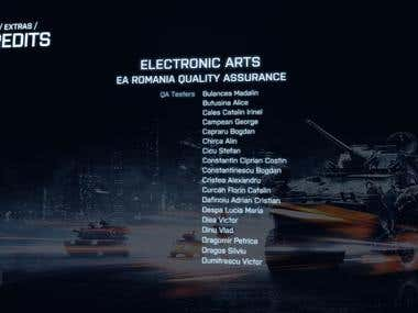 QA Tester for Electronic Arts' AAA title: Battlefield 3