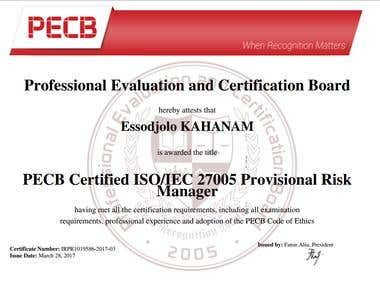 PECB Certified ISO/IEC 27005