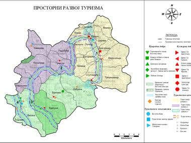 Map of Tourism activities and sites in Arilje, Serbia