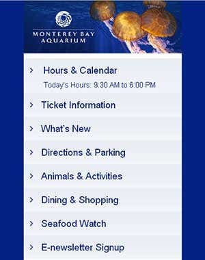 Monterey Bay Aquarium Mobile WAP site