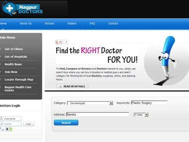 Web Portal to find Doctors and Hospitals in Nagpur City