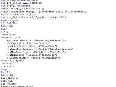 Snippet: VBA Code