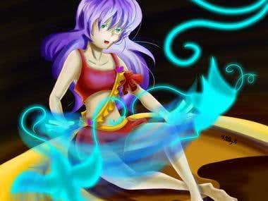 Anime Girl with Magic