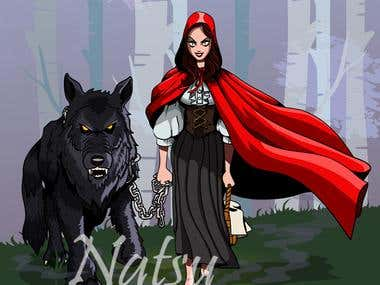 Dark Red Riding Hood Illustration