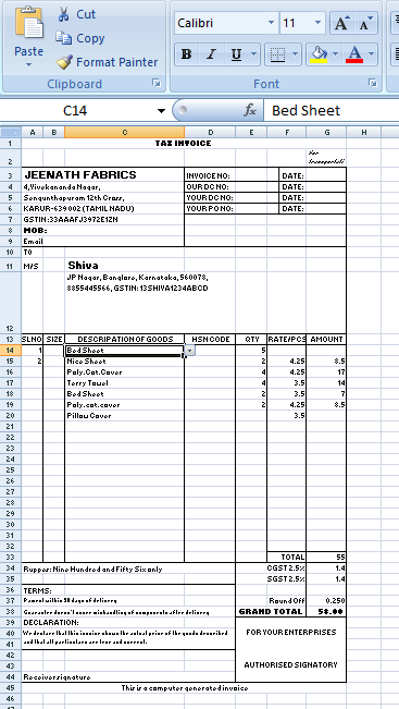 Excel Tax invoice
