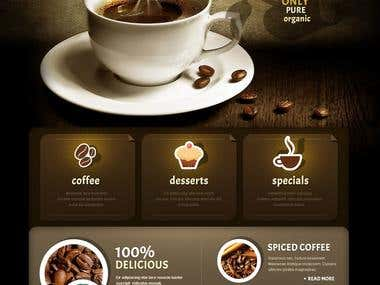 web design about coffe shop place