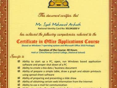 Certificate in Office Application Course