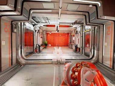Space ship hallway tour