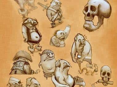 Cartoon Pencil Sketches