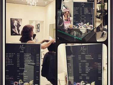 Hair Salon Menu