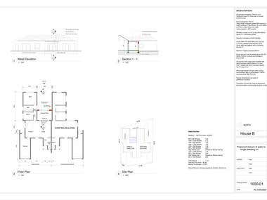 Drafting - House B - CAD drawings for Council
