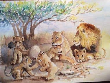 Illustration of lions